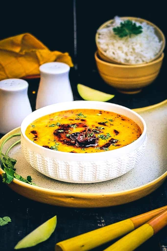 Raw Mango Dal Recipe, mango pappu charu, toor dal with raw mango recipe