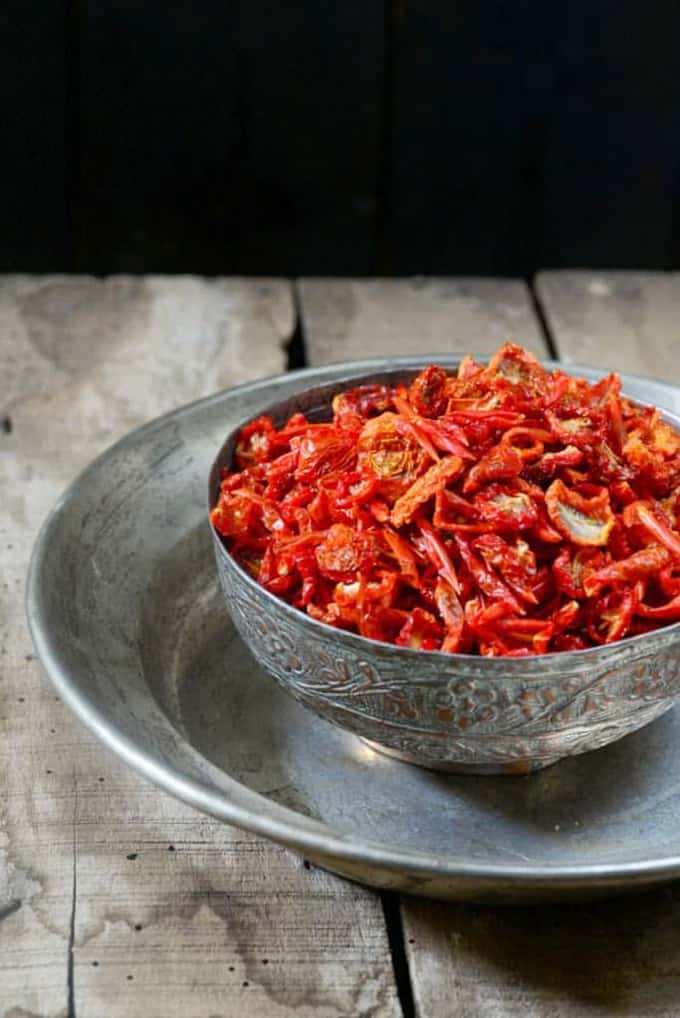 Sun Dried Tomatoes shown in a beautiful bowl
