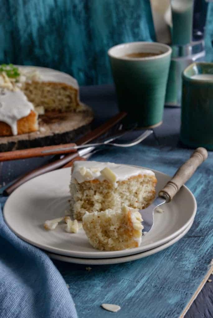 One Bowl Almond Olive Oil Cake with Lemon Sugar Glaze