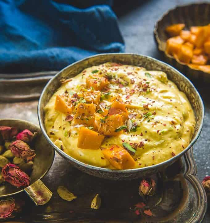 Mango Shrikhand served in a bowl.