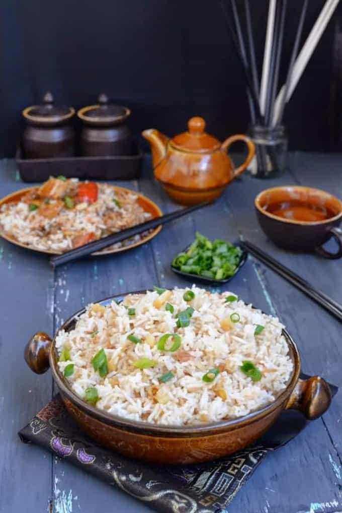 Vegetarian Pineapple Fried Rice Recipe, How to make Vegetarian Pineapple Fried Rice
