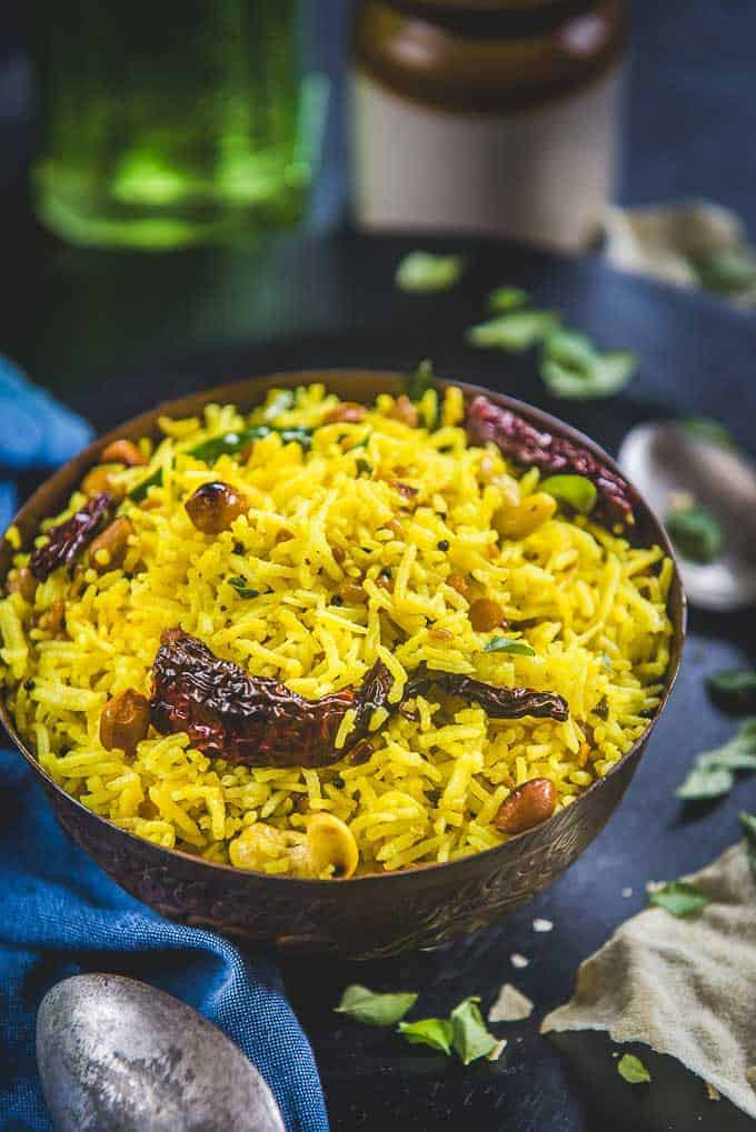 South Indian Lemon Rice Recipe (Step by Step + Video) - Whiskaffair