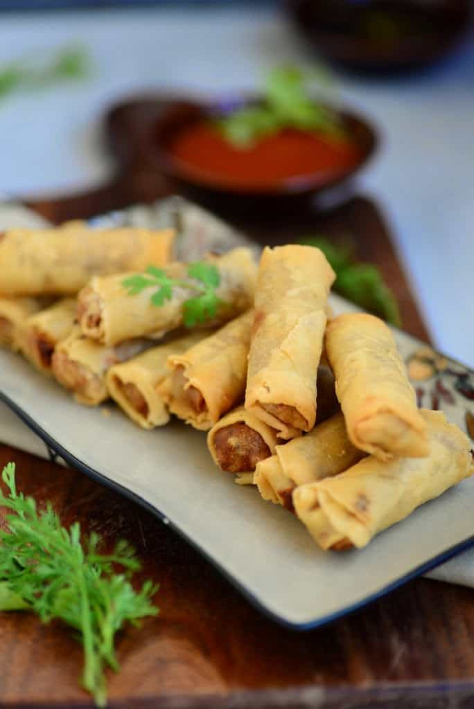 Vegetable Spring Rolls / Indo Chinese Style Fried Rolls Filled with Vegetables