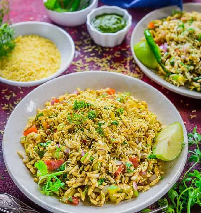 Bhel Puri Served in a plate.