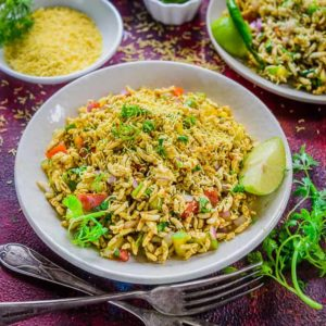 Bhel Puri is a popular street side food from India. Made using puffed rice and an amalgamation of spices and chutneys, it is a treat to the taste buds.