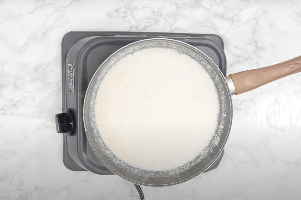 Curdled milk.