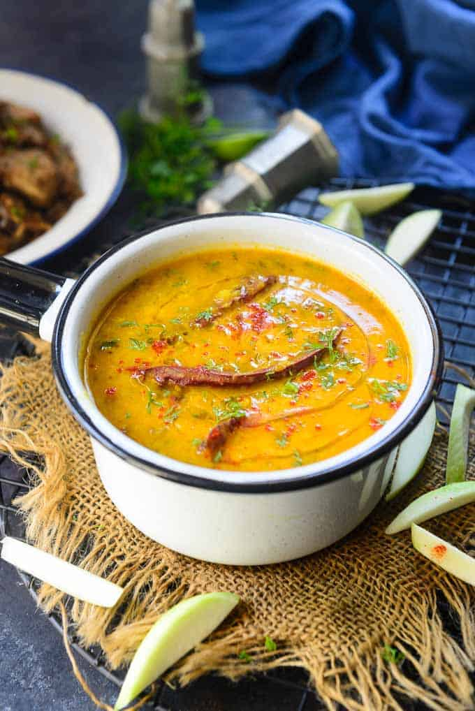 Mango dal served in a bowl.