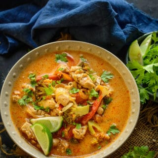 Thai red chicken curry served in a bowl.