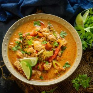 Thai Red Curry is a popular curry from Thai cuisine. You can make it vegetarian, with chicken, shrimp or with fish. This recipe is very easy to make and is very close to the authentic red curry that you would get in Thailand. Here is how to make Thai Red Curry recipe with Chicken.