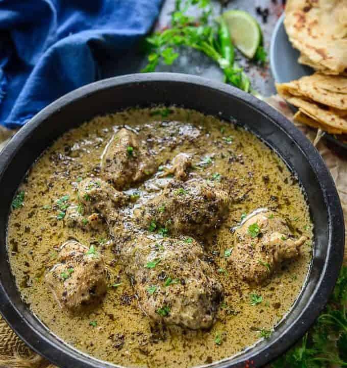 Chicken kali Mirch served in a bowl.