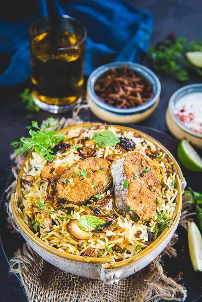 Fish biryani served in a bowl.