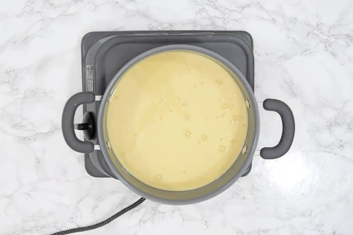 Batter cooking in a pan.