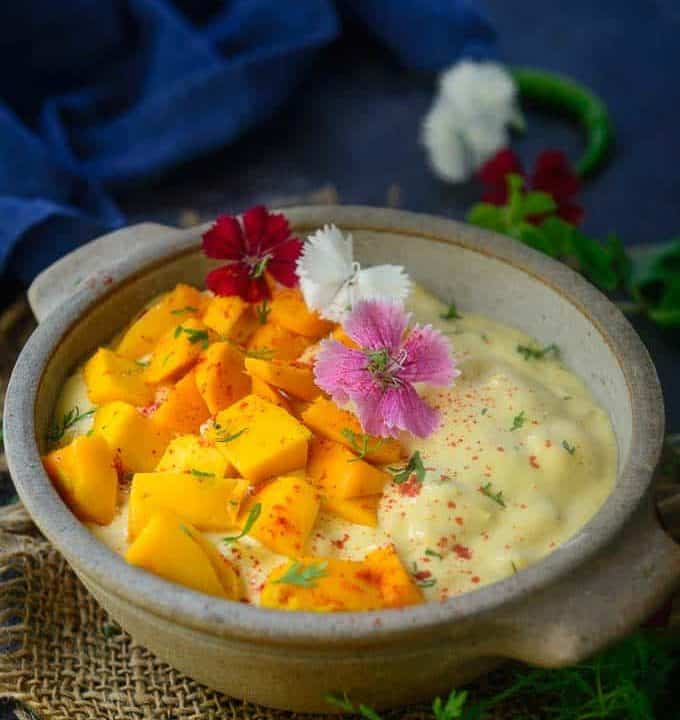 Mango raita served in a bowl.