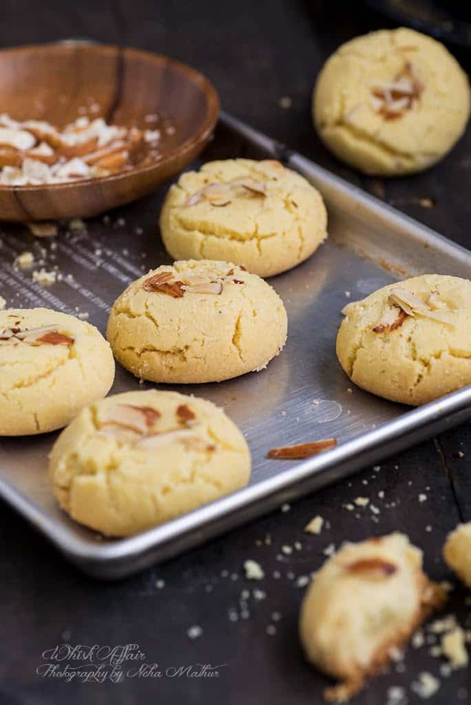 Nan Khatai on a baking tray