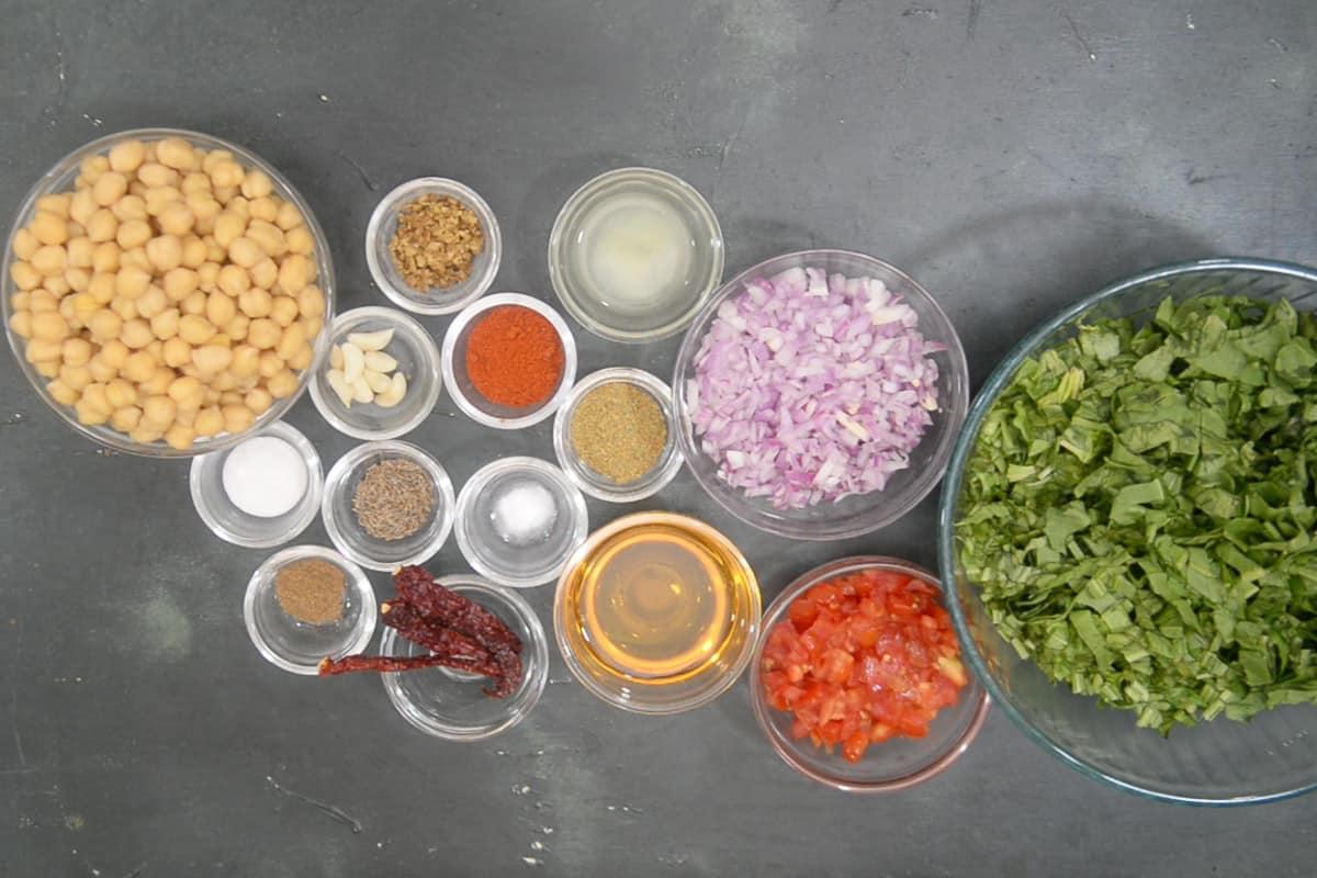 Palak chole ingredients