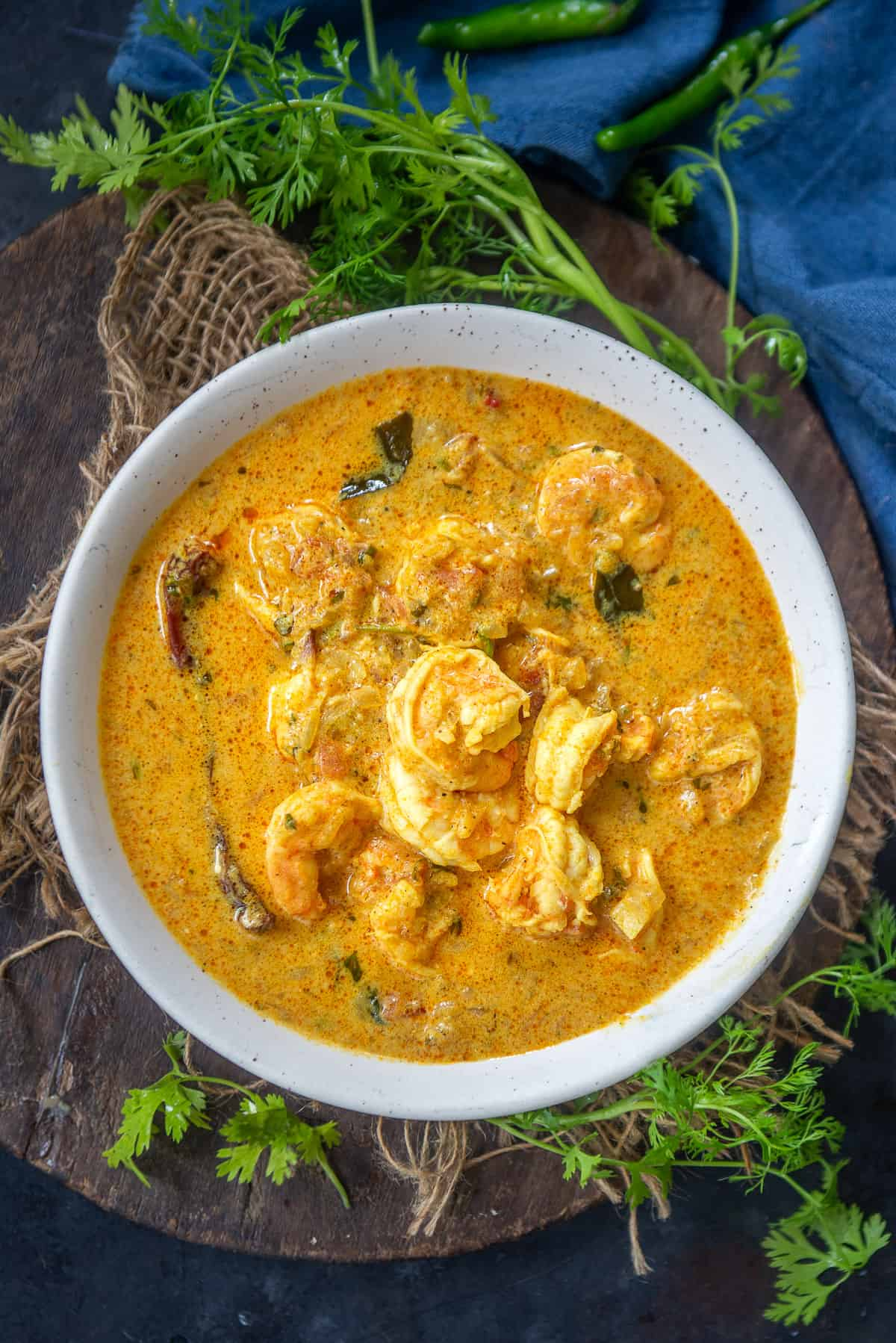 Prawn Coconut Curry served in a bowl.