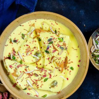 Shahi Tukda served in a bowl.