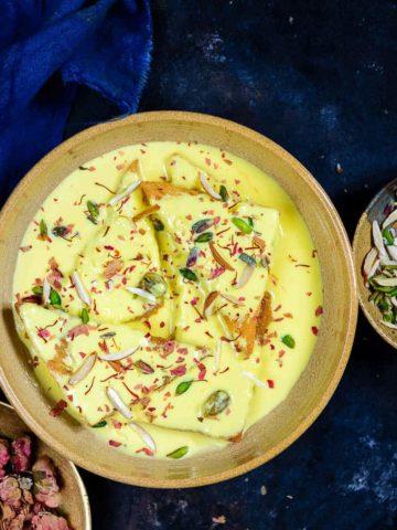 Shahi Tukda served in a bowl.