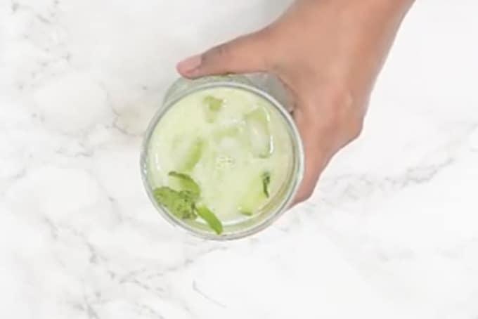 Cucumber cooler served in a glass.