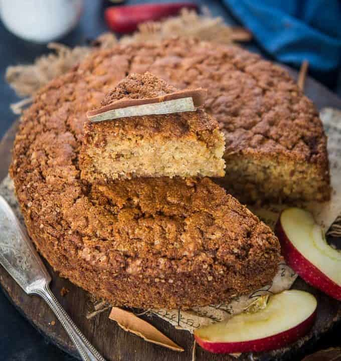 Apple cinnamon cake served on a plate.