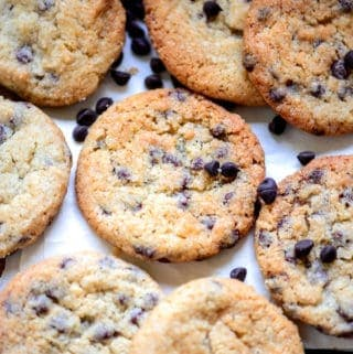 Chocolate chip cookies served on a plate.