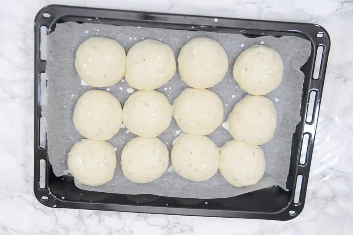 Balls brushed with milk.