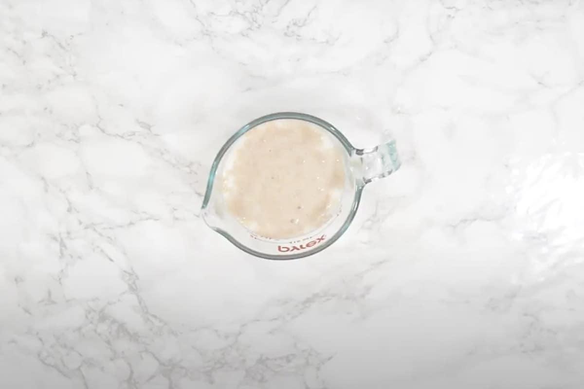 Frothy yeast mixture.
