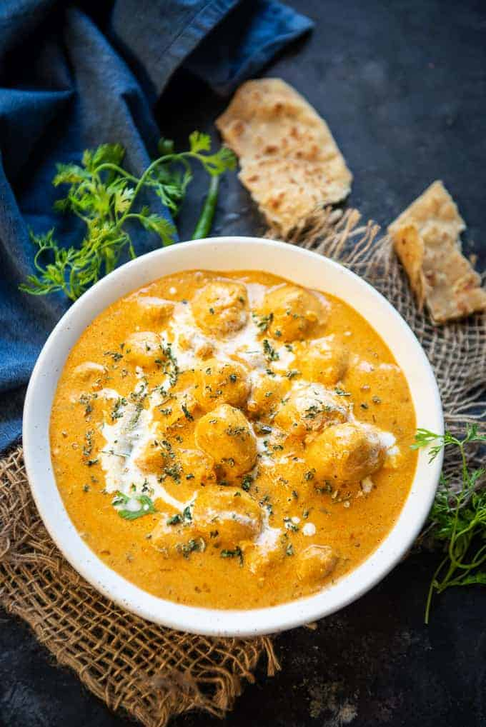 Dum Aloo served in a bowl.