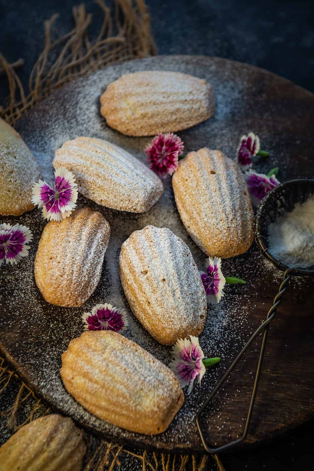 madeleines served on a plate.