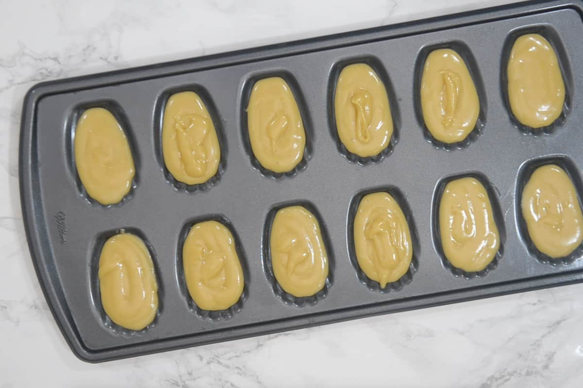 batter poured in the mold.