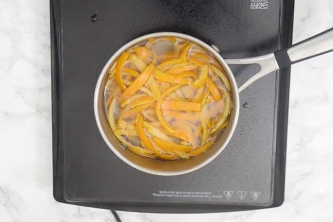 Orange skin added in the pan.