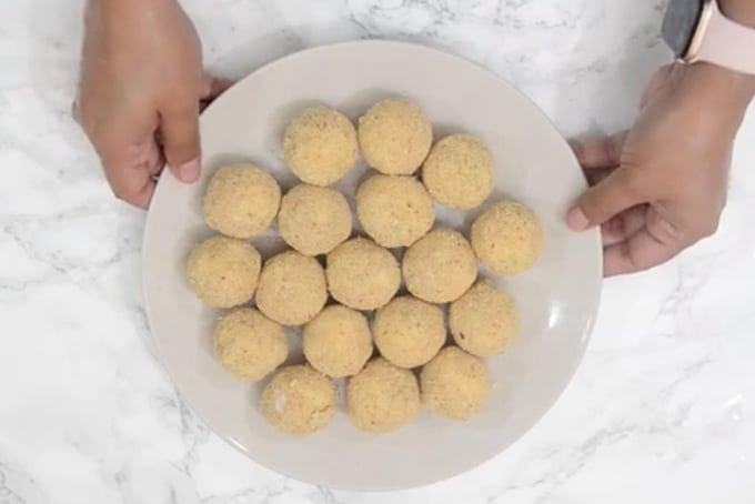 Balls arranged on a plate.