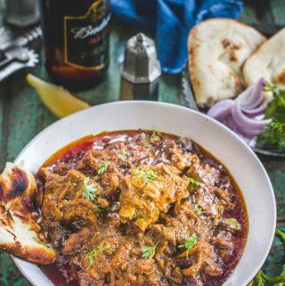 Bhuna Gosht Served in a bowl.