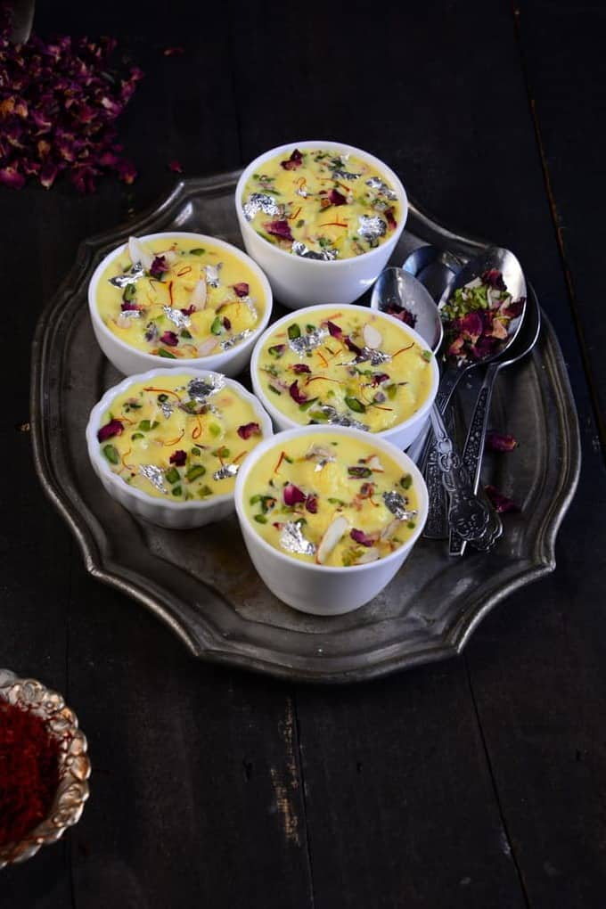 Angoori rasmalai or angoor rabdi is a dessert made with fresh Indian cottage cheese. Cottage cheese balls are dunked in flavored and thickened milk.