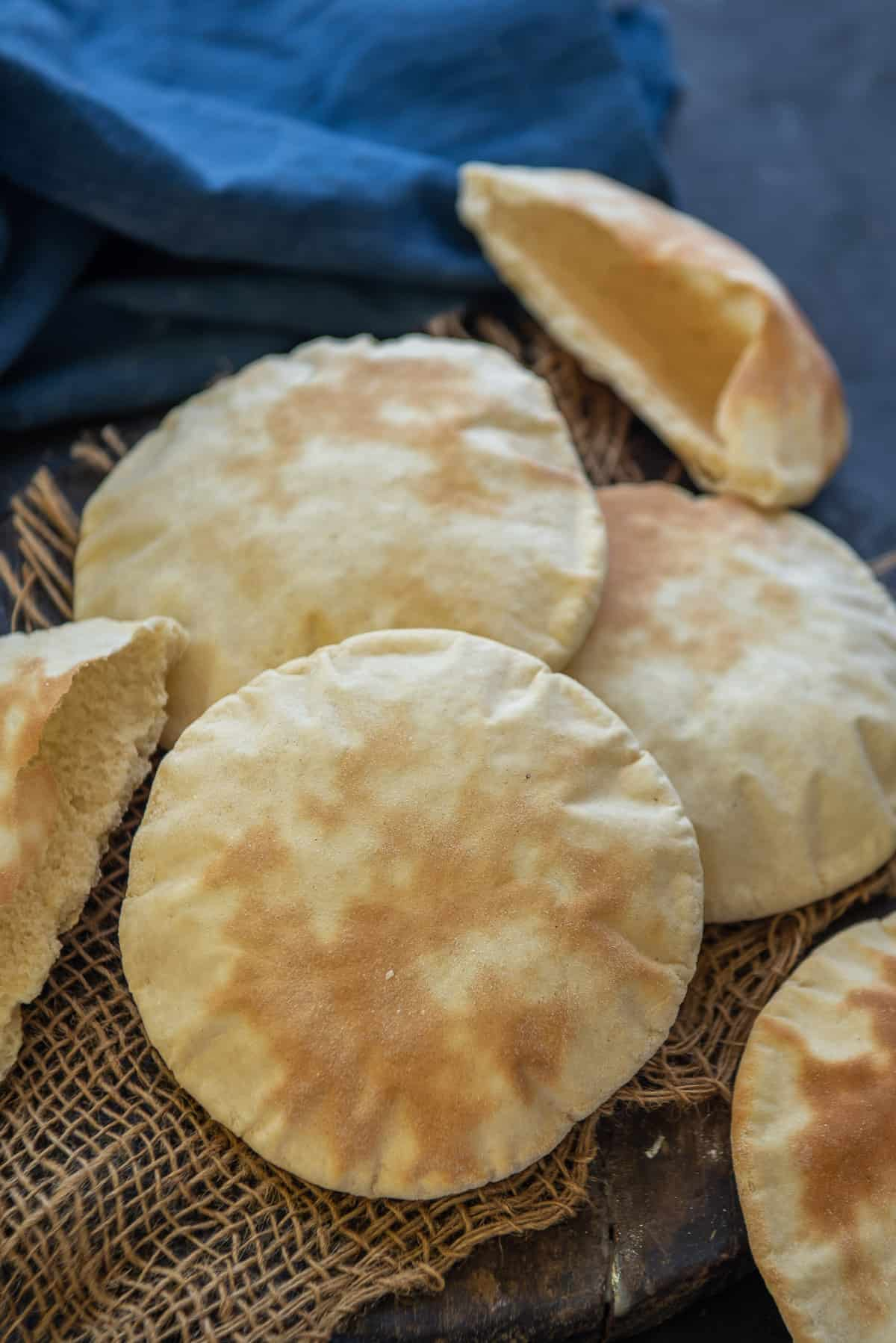 Pita bread served on a plate.