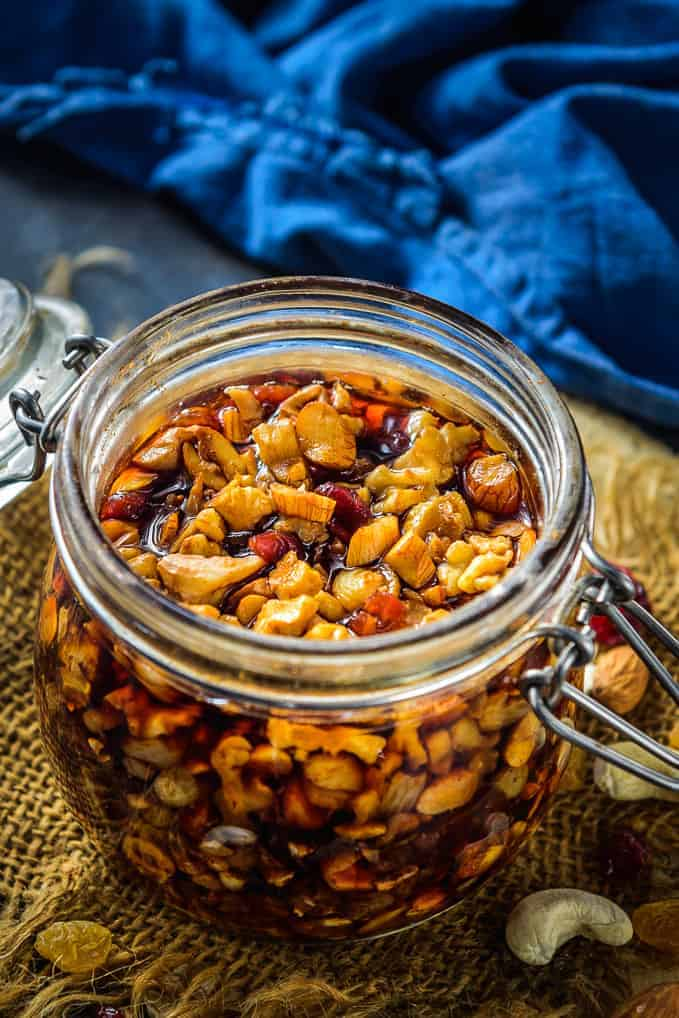 Soaked fruits and nuts for christmas cake.
