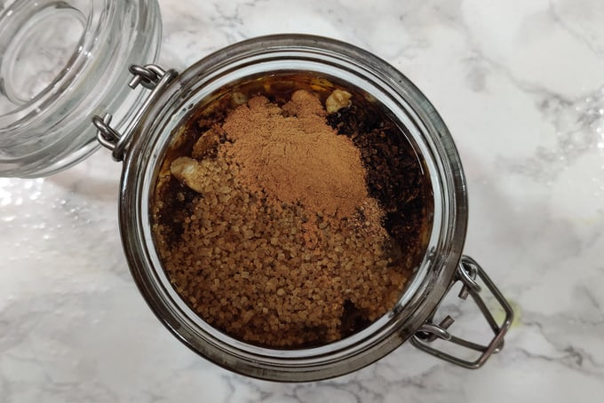 Rum, brandy and dry spices added in the jar.