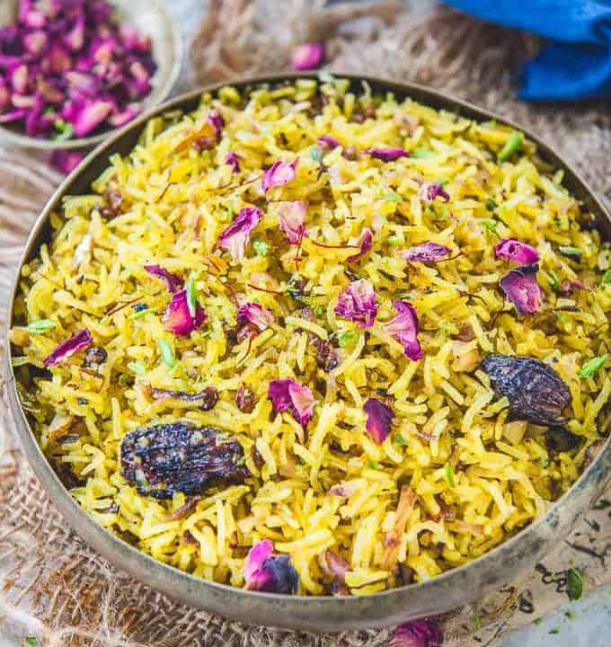 Zarda Pulao served in a bowl.