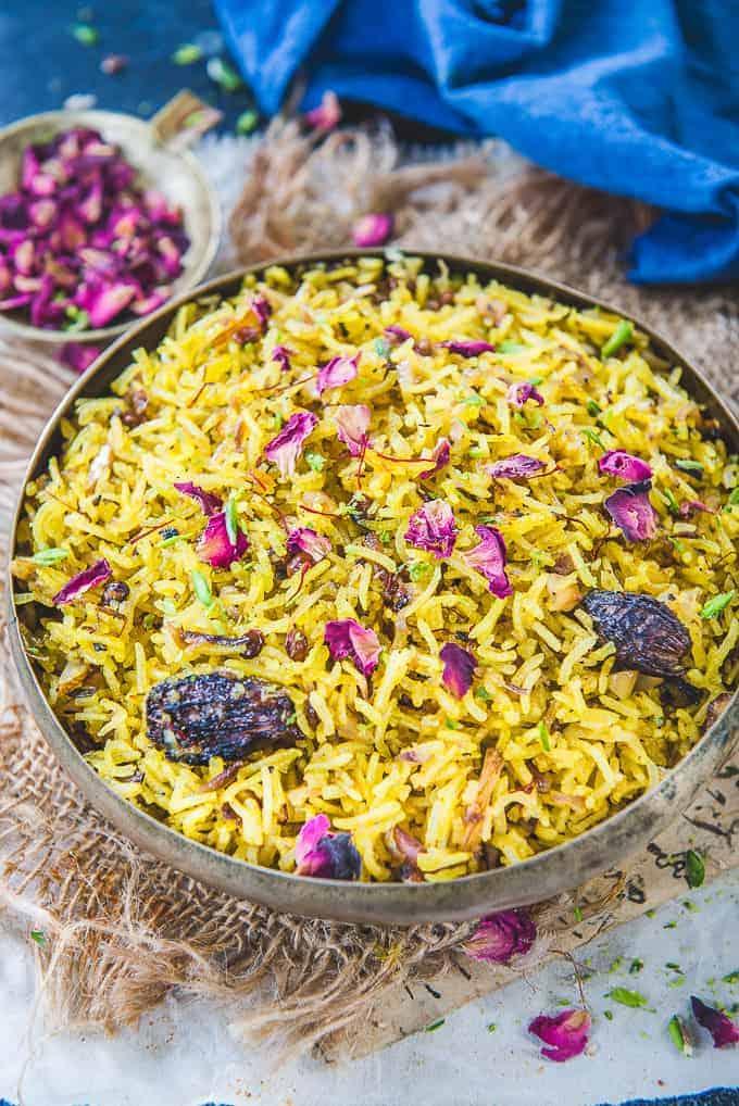 Zarda Pulao served in a bowl.