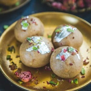 Churme Ke Ladoo is a sweet dish traditionally made in Rajasthan which uses whole wheat flour that is deep fried and dry roasted.