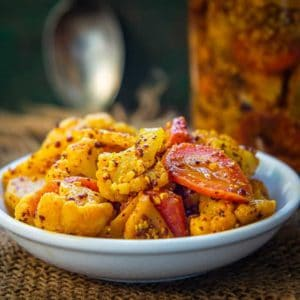Gajar Gobhi Shalgam ka Achar is a delicious Indian pickle made using fresh carrots, cauliflower and turnips. It is a winter special pickle which lasts throughout the year. Here is how to make Gajar Gobi Shalgam Achar Recipe.