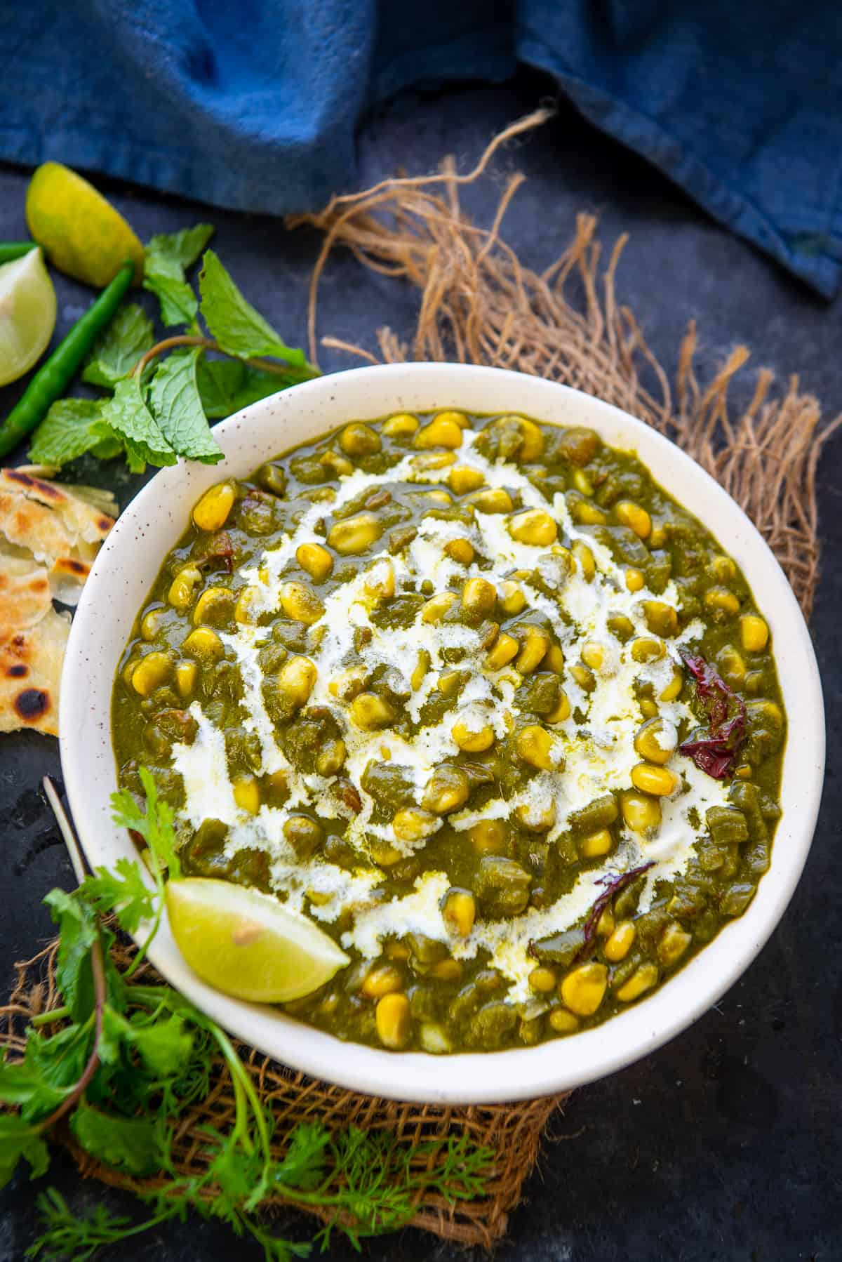 Palak corn served in a bowl.