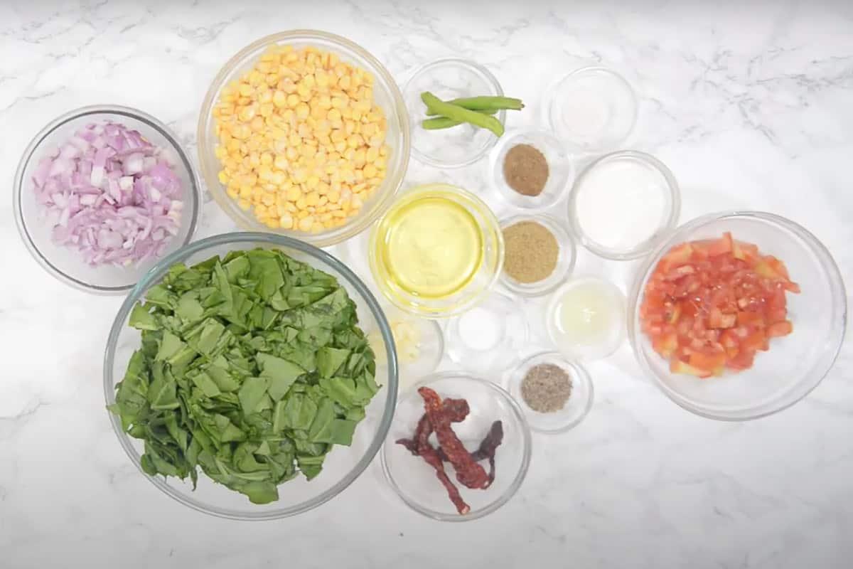 Palak Corn Ingredients