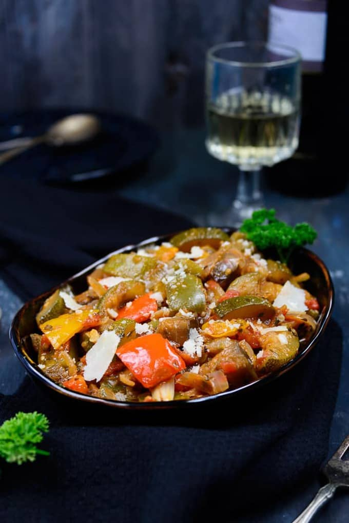 Ratatouille is a French recipe made with a medley of vegetables cooked in a tomato based sauce. Here is a tried and tested recipe.