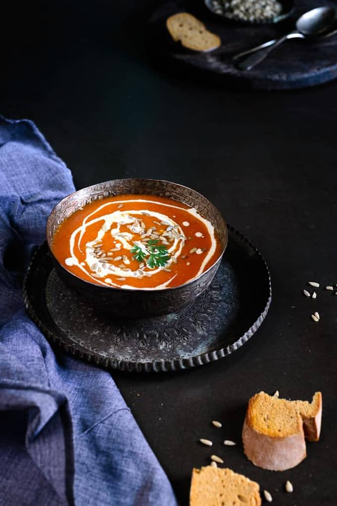 Roasted Fennel and Tomato Soup with Sunflower Seeds Topping Recipe