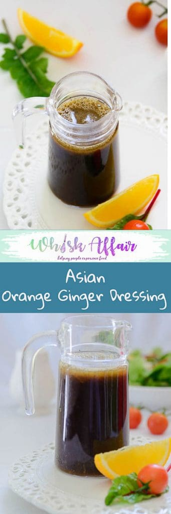 Asian orange ginger salad dressing is a healthy salad dressing inspired by the flavors of Asia. Use over any salad to make it delicious. #Healthy Recipes #SaladDressings #Vinaigrette