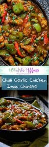 Fiery hot and full of garlic flavor, this Indo Chinese Chilli garlic chicken is a must make recipe. Enjoy it with fried rice or plain steamed rice. #AsianRecipes #ChickenRecipes #IndoChineseRecipes