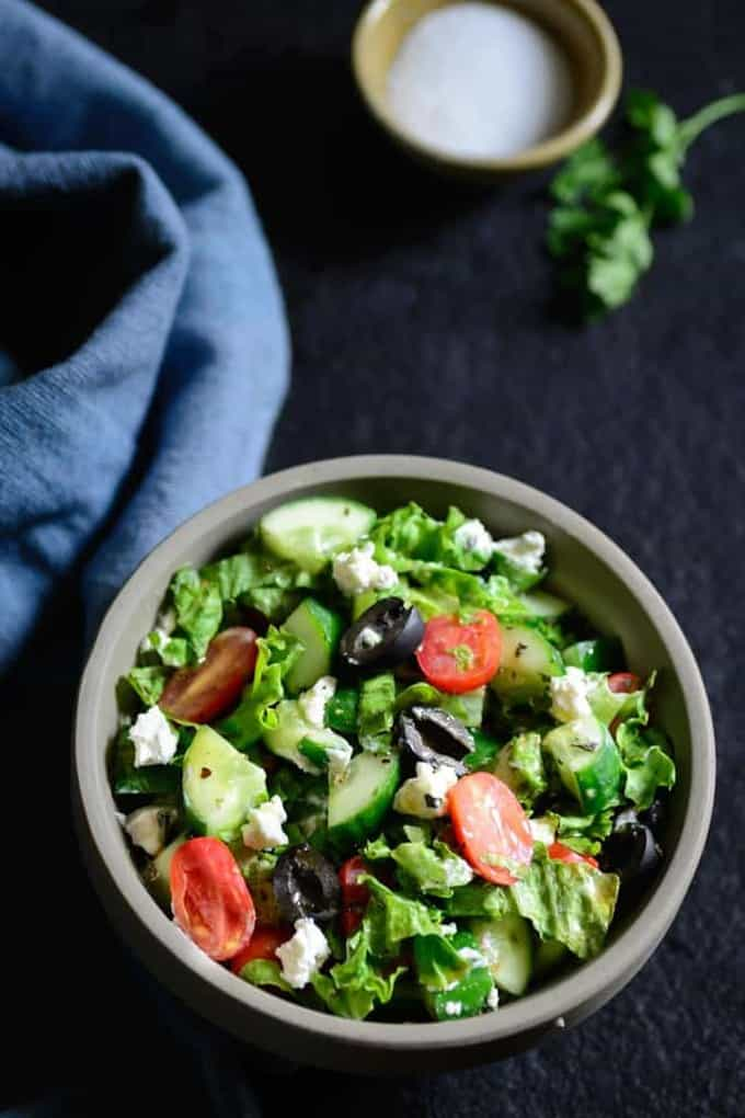 Greek salad. A light and refreshing salad with fresh and strong middle Eastern Flavors. Perfect for a healthy and filling meal.