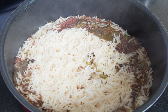 cooked rice in the pan