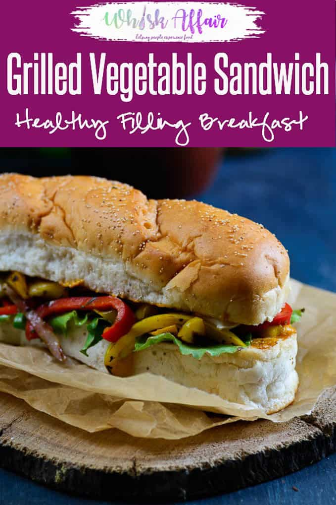 Grilled Vegetable Sandwich is a healthy and easy to make option for breakfast. You can use vegetables of your choice to make this sandwich. #BreakfastRecipes #HealthyRecipes #Vegetarian